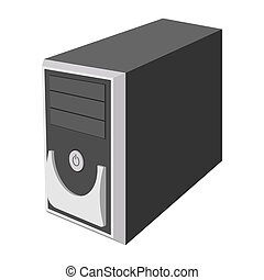 Computer case cartoon icon. System unit isolated on a white...