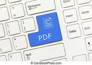 White conceptual keyboard - PDF (blue key) - Close-up view...