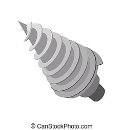 Rotating drill cartoon icon isolated on a white background