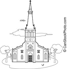 Structure of a church - Vector illustration of a church, EPS...