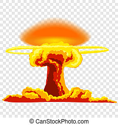 Nuclear explosion with dust Orange and red illustration on...