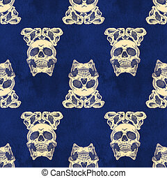 Terrible frightening seamless pattern with skull and crown...
