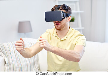 young man in virtual reality headset at home - 3d...