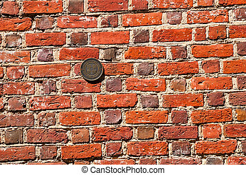 Old red brick wall close up texture