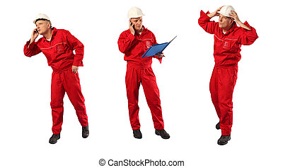 worker in uniform in action - inspector in red uniform and...