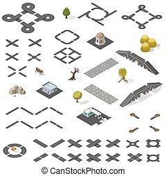 Road Map Kit isometric - Road Map Kit isolated on white -...