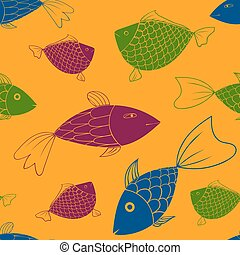 vector seamless pattern with fishes eps 10