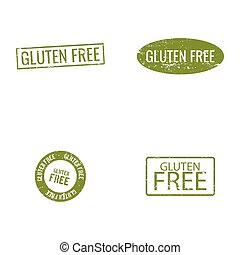 Gluten Free labels - abstract gluten free labels on a white...