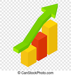 New growth chart isometric 3d icon