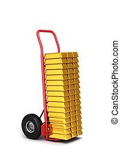 Hand truck with gold bars - Big hand truck delivery of gold...