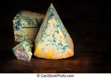 Stilton mature blue cheese - Dark background