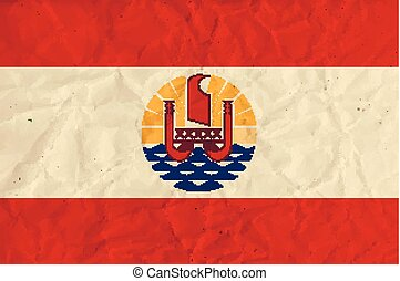 French Polynesia paper flag - Vector image of the French...
