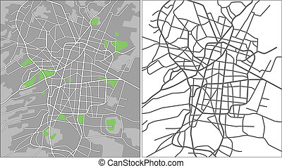 Mexico City - Illustration city map of Mexico City in...