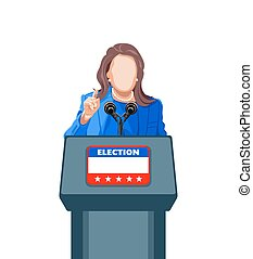 Election speech - Female politician giving an election...