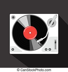 Record player with vinyl record, isolated vector...