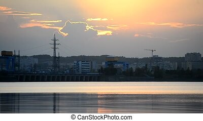 Time lapse of sunset with Kiev hydroelectric power station -...