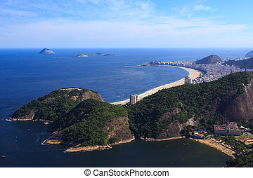 Copacabana beach aerial view from the top of Sugar Loaf