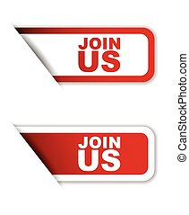 red set vector paper stickers join us