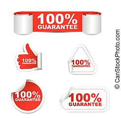 red vector set paper stickers 100% guarantee