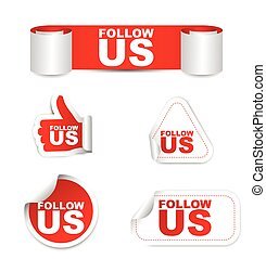 red vector set paper stickers follow us