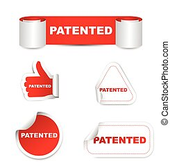 red vector set paper stickers patented - This is red vector...