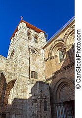 Holy Sepulchre Cathedral at sunset, Jerusalem - Holy...