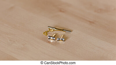 close-up of gold men's cufflinks