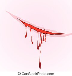 Claws scratch blood drops background Vector damage...