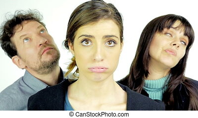 Unhappy sad people making faces