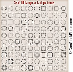 Set of 100 baroque and antique frames.