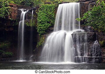 Tropical waterfall scenery - Khlong Chao waterfall in Ko...