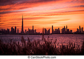 Flaming sunset of Dubai - Took this shot in Dubai Terrace, a...