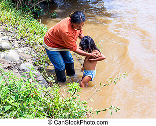 Mother And Daughter, Bath Time - Yasuni, Ecuador - 17...