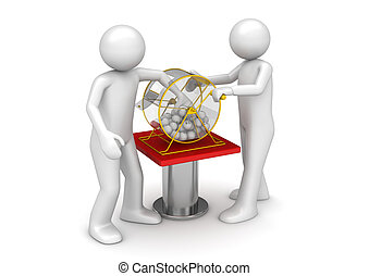 Gambling collection - Bingo drawing - 3d characters isolated...