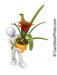 Lifestyles collection - Florist with flowerpot - 3d...