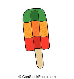 Vector color doodle line drawing cartoon ice lolly, hand drawn