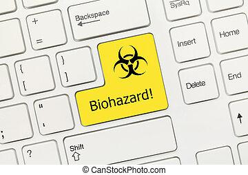 White conceptual keyboard - Biohazard (yellow key)