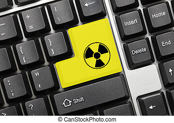 Conceptual keyboard - Yellow key with radiation symbol -...