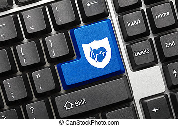Conceptual keyboard - Blue key with shield and health...