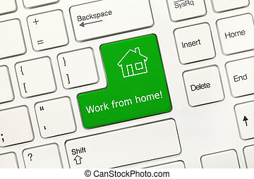 White conceptual keyboard - Work from home (green key) -...