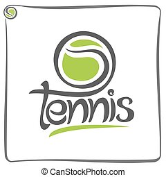Tennis - Vector illustration of the logo for green ball of...