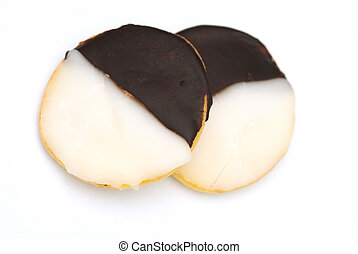 Black White - Black and white cookies isolated on a white...