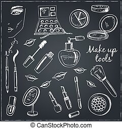 Collection of  Vector hand drawn Tools for make-up.