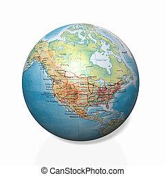 Physical globe, American side - Physical globe, American...