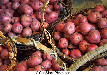 Baskets full of small red new potatoes - Baskets full of...