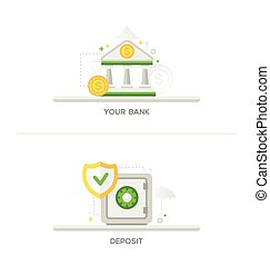 Bank, Deposit Vault Icons - Your Bank, Deposit -bank and...
