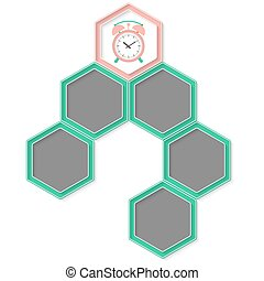 Six colored hexagons for your text and alarm clock