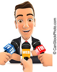 3d businessman being interviewed media, isolated white...