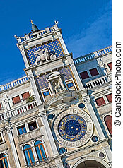 Torre dell Orologio Clock Tower in Venice, Italy - Diagonal...