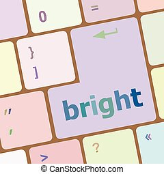 Button with bright on computer keyboard business concept...
